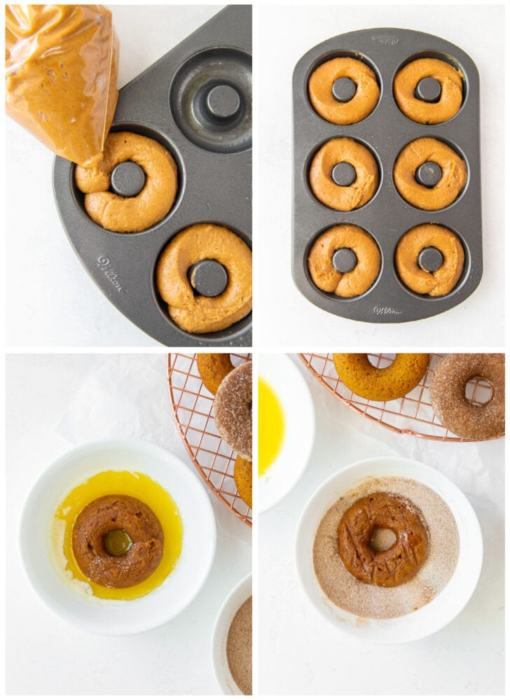 photo collage demonstrating how to pipe pumpkin donut batter into a donut pan and dip baked donuts in melted butter and cinnamon sugar