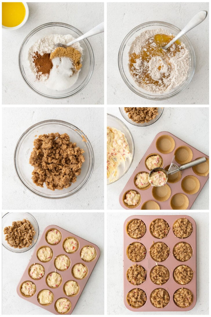 photo collage demonstrating how to make streusel to put on strawberry muffin in muffin tin