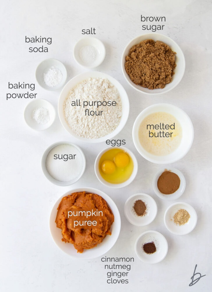 pumpkin donuts ingredients in bowls labeled with text