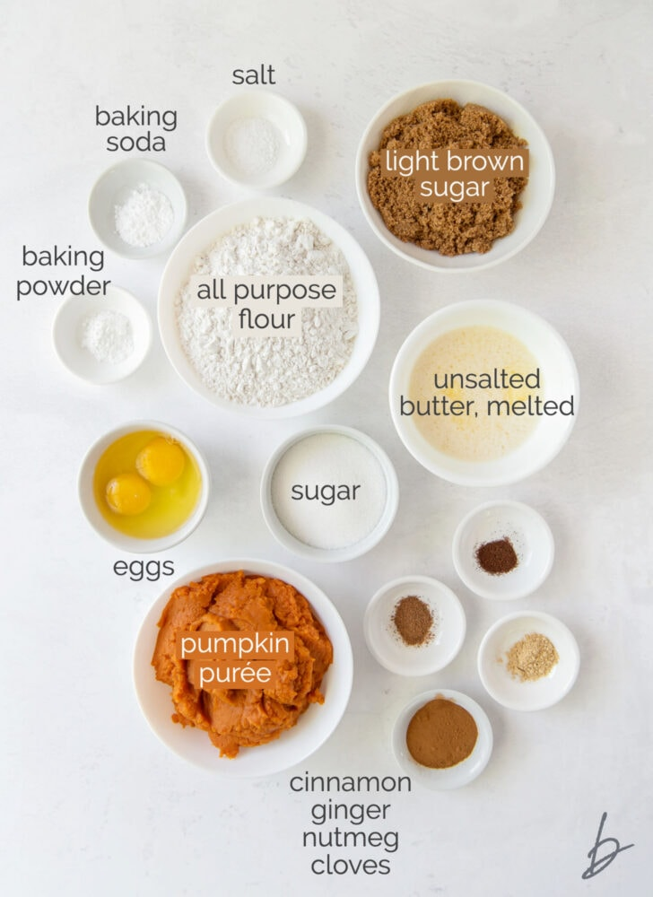pumpkin muffin ingredients in bowls labeled with text