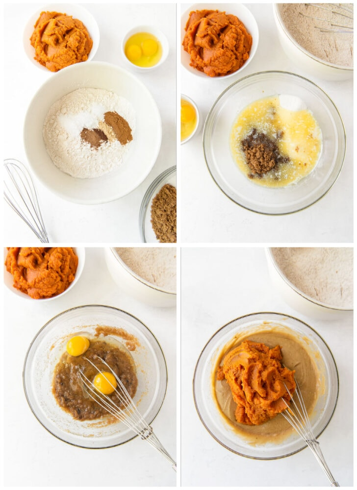 photo collage demonstrating how to make pumpkin muffins in a glass mixing bowl