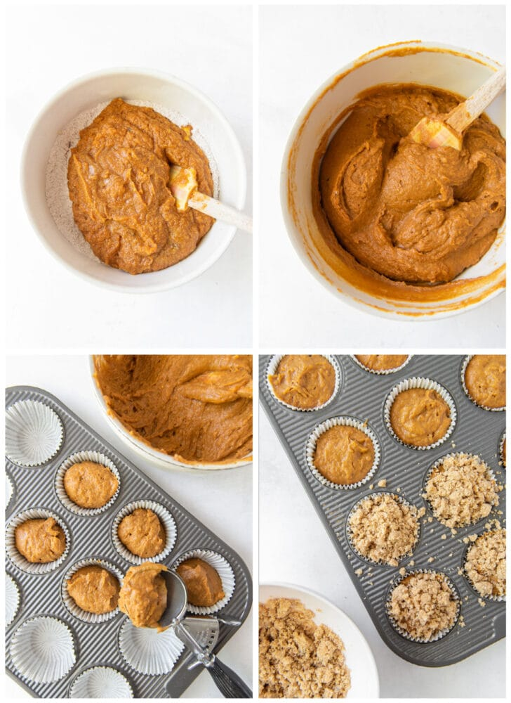 photo collage demonstrating how to make pumpkin muffins in a glass mixing bowl and muffin tin