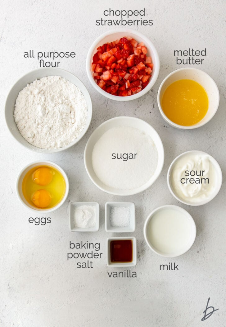 strawberry muffin ingredients in bowls with text