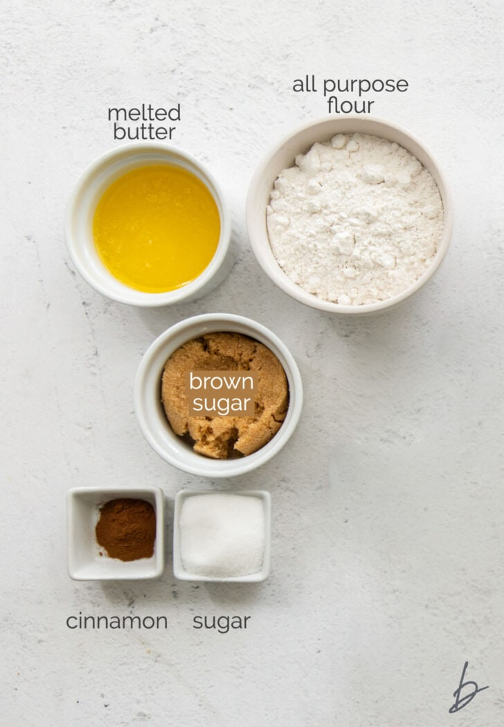 muffin streusel ingredients in bowls with text
