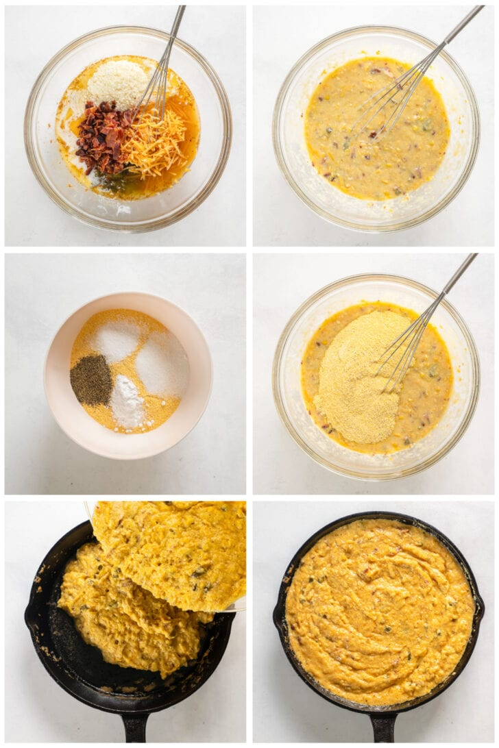 photo collage demonstrating how to make jalapeno cheese cornbread in a mixing bowl and skillet