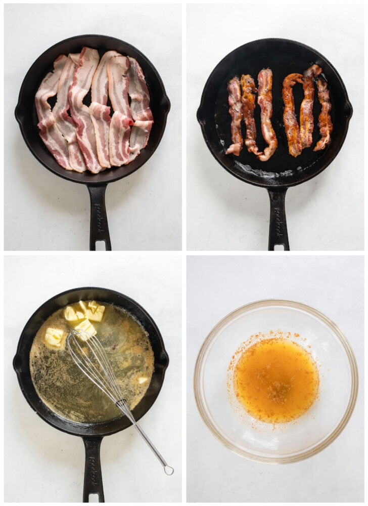 photo collage demonstrating how to fry bacon in a skillet and melt butter in bacon fat