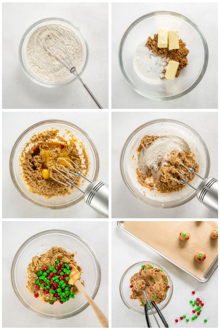 photo collage demonstrating how to make m&m cookie dough in a mixing bowl with a hand mixer