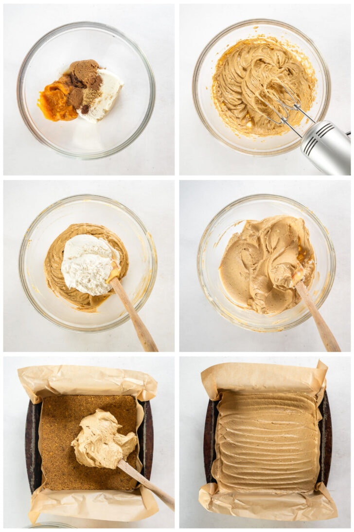 photo collage demonstrating how to make filling for no bake pumpkin cheesecake bars