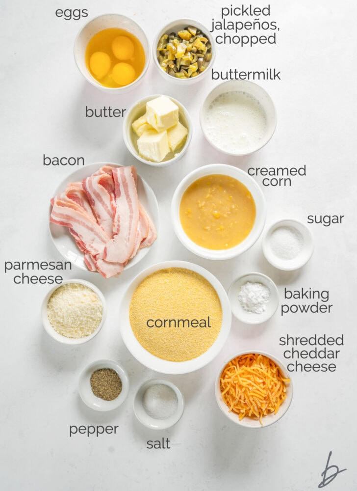 jalapeno cheese cornbread ingredients in bowls labeled with text