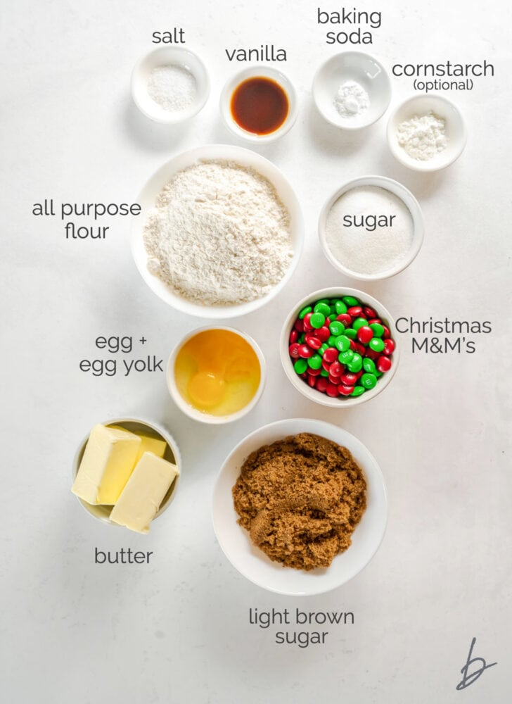 m&m christmas cookies ingredients in bowls labeled with text