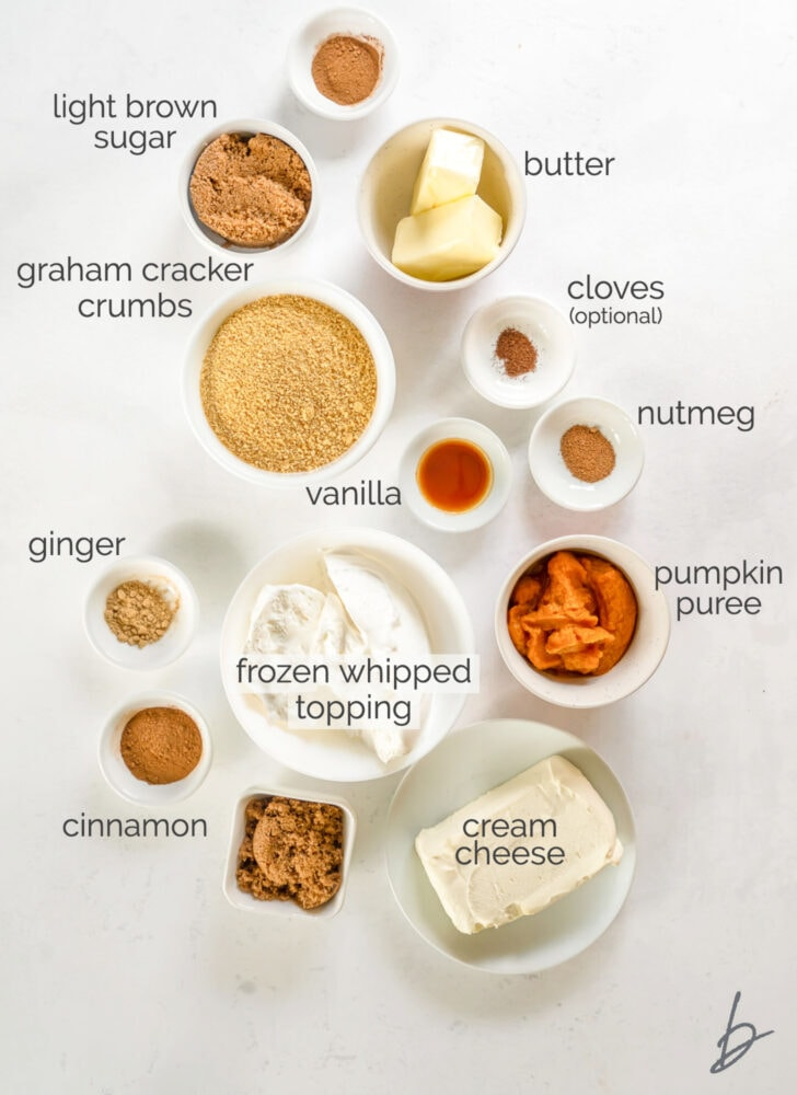 no bake pumpkin cheesecake bars ingredients in bowls labeled with text
