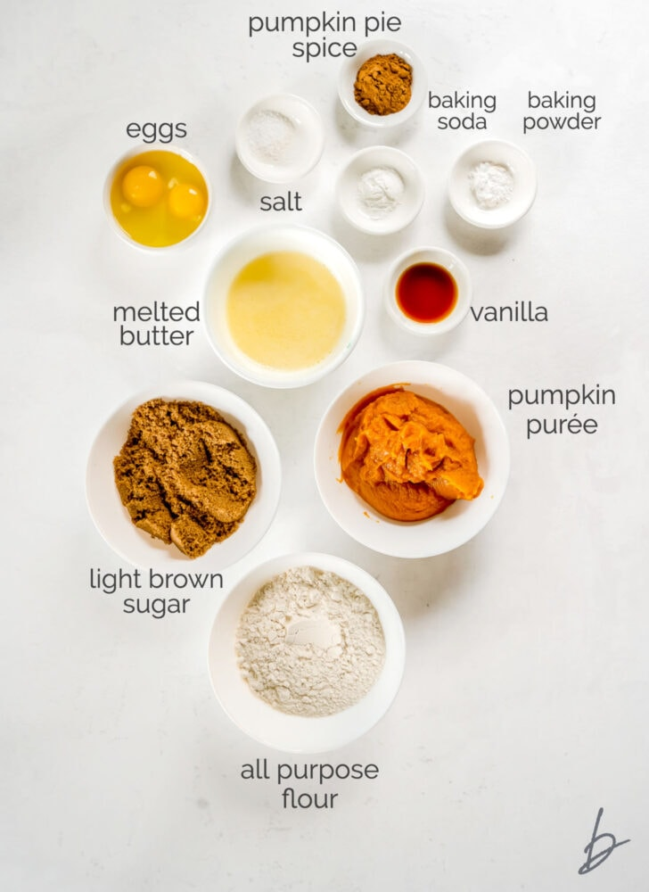 pumpkin cupcakes ingredients in bowls labeled with text