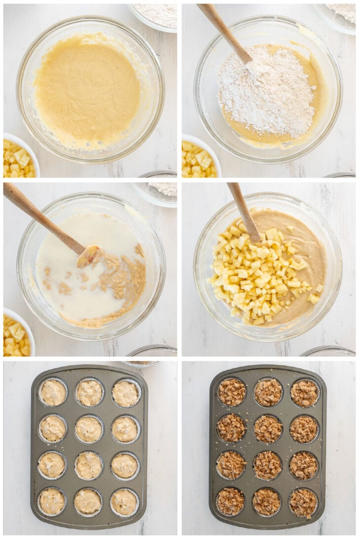 photo collage demonstrating how to make apple crumble muffins steps 7-12