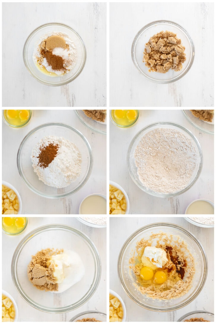 photo collage demonstrating how to make apple crumble muffins steps 1-6