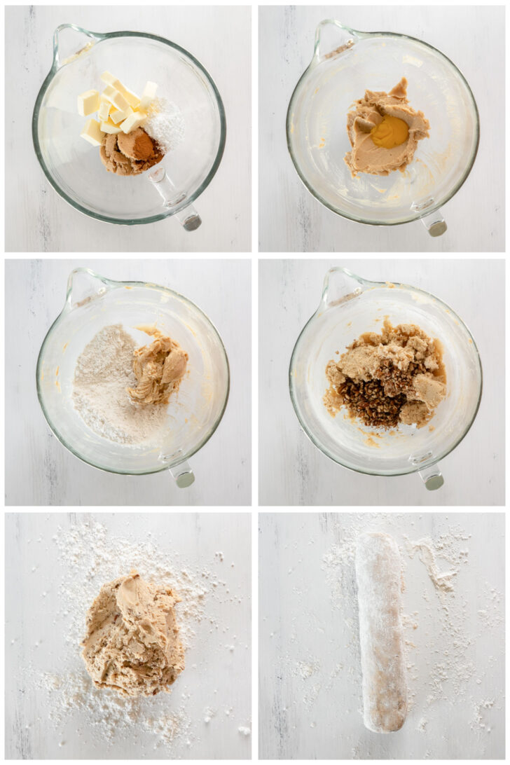 photo collage demonstrating how to make pecan sandies cookie dough in a mixing bowl