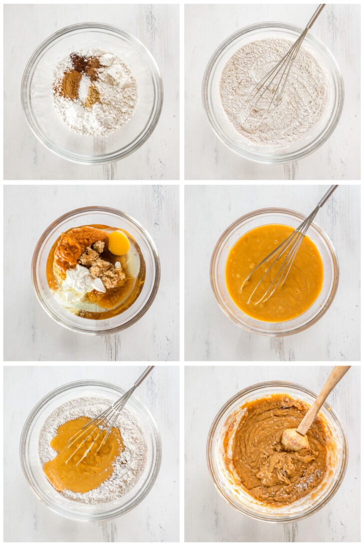photo collage demonstrating how to make pumpkin coffee cake batter in a glass mixing bowls