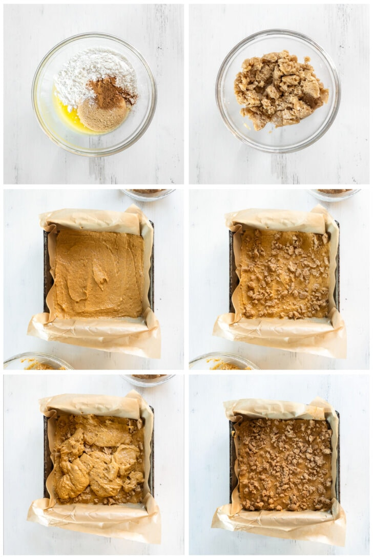 photo collage demonstrating how to make streusel and layer it with pumpkin coffee cake batter in 8x8 baking pan