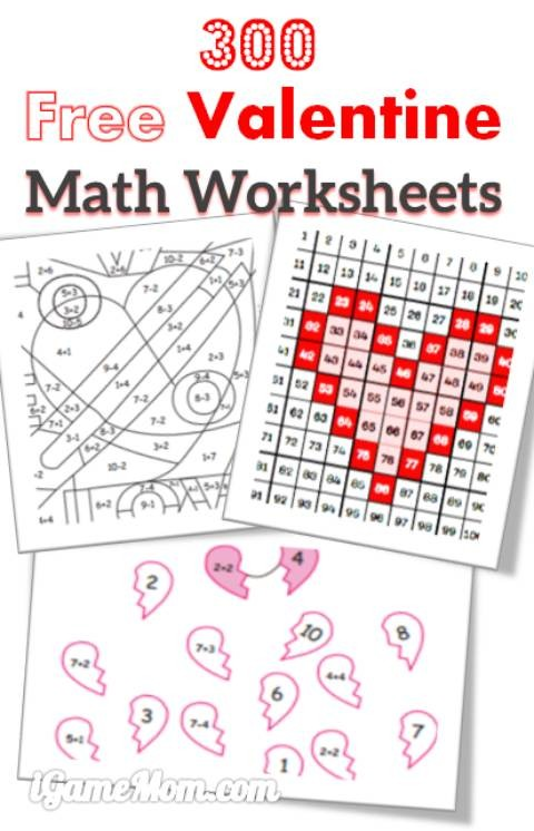 300 Free Valentine Math Worksheets For Kids
