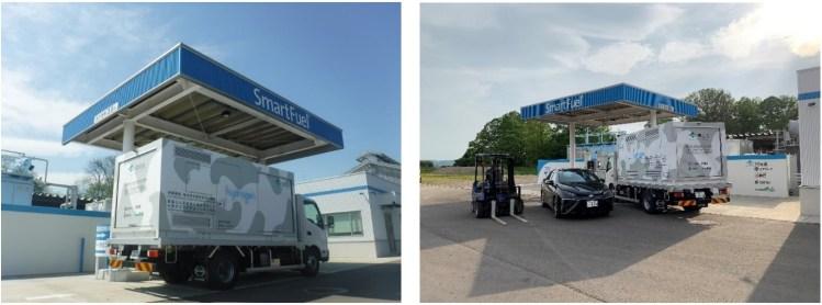 簡易型水素充填車(左)と当事業関係車両3両と水素ステーション