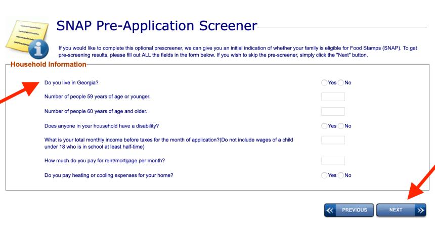 GA Gateway Pre-Screener