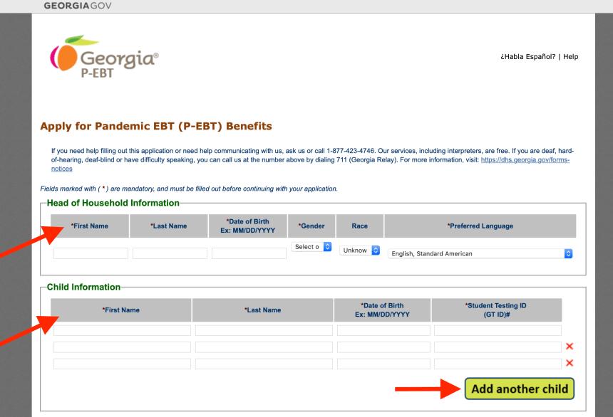 Georgia P-EBT Online Application