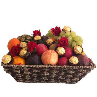 Fruit Basket + Ferrero Chocolates + Red Silk Roses - Delivered Free