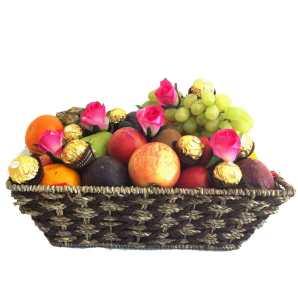 Fruit Basket + Ferrero Chocolates + Pink Silk Roses - Delivered Free