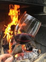 bål-rødvin -vinglass