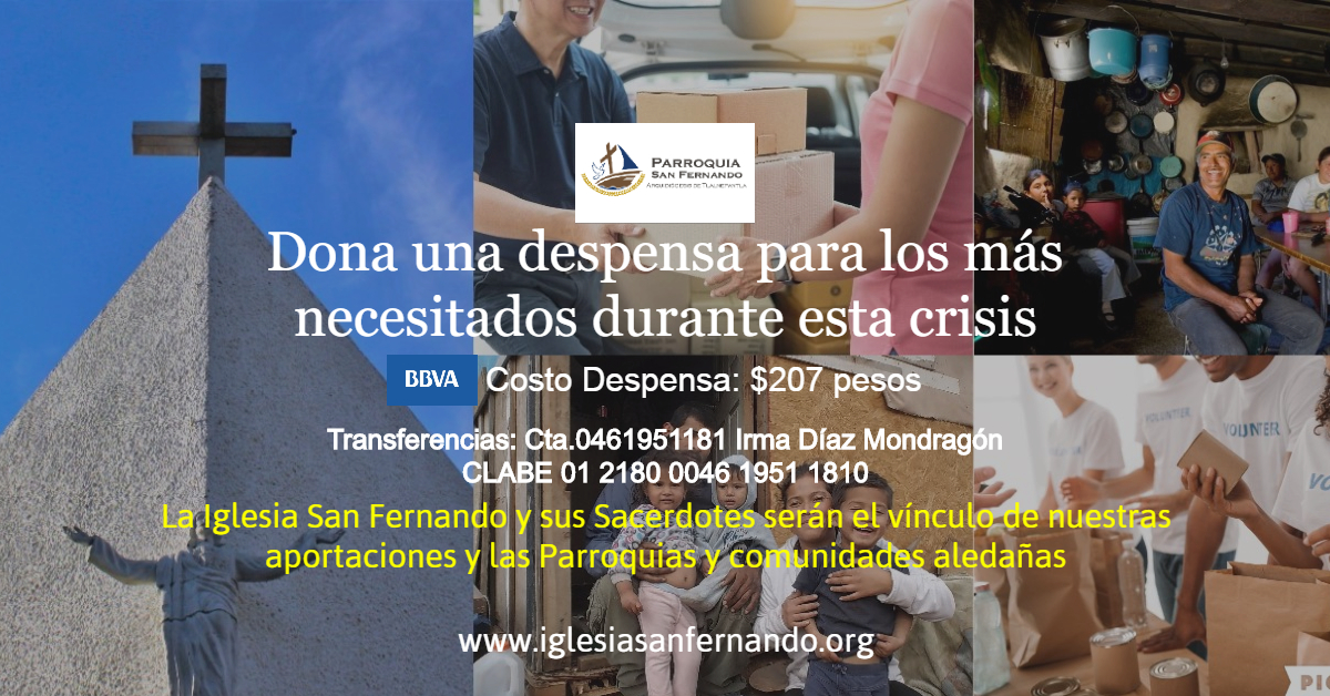Despensas Zona Esmeralda San Fernando Donativos 2020 FB Post