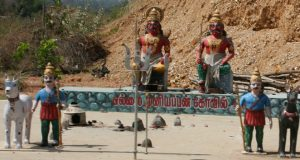Community idols and sacred stones. There are millions of these displays throughout India.