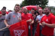 Metallerinnen und Metaller bei Accumotive in Kamenz solidarisch mit RIVA-Streikenden in Trier und Horath