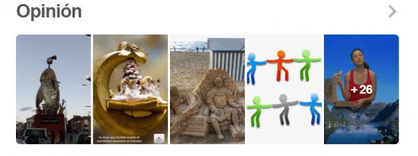 Secciones tableros Pinterest