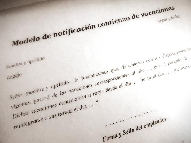 Modelo de notificación comienzo de vacaciones y reintegro de vacaciones.