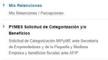 """""""PYMES Solicitud de Categorización y/o Beneficios"""" y presentar el """"Formulario 1272."""""""