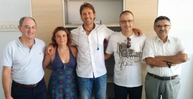 Con Miguel Ángel Tobias en la reunión y visionado de GURBA (La Condena) de ACCA Media.