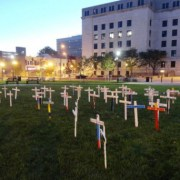 S.T.O.P. crosses on the lawn in front of Camden City Hall, remembering the loss of 54 lives this year.