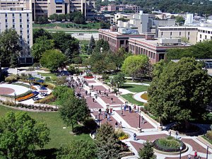 Creighton University's central plaza lined with trees.