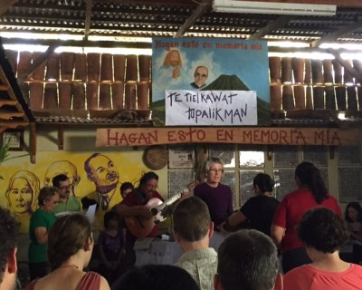 Pueblo de Dios en Camino, a Salvadoran base community celebrates the Eucharist the on Pentecost Sunday, following Blessed Archbishop Romero's beatification the previous day.
