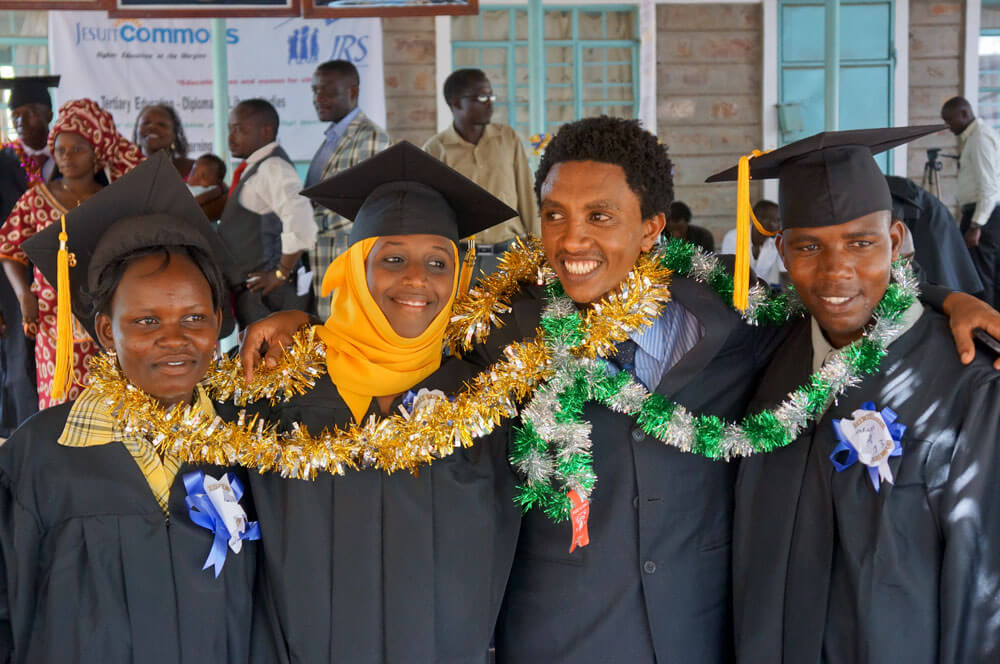 Graduates of the first Jesuit Commons: Higher Education at the Margins cohort receive a Diploma in Liberal Studies from Regis University after three years of studying at the project site in Kakuma refugee camp. [SOURCE: Jesuit Refugee Service]