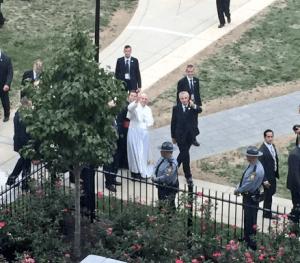 Pope Francis waves to students in Villiger Hall at Saint Joseph's University. [SOURCE: Saint Joseph's University]