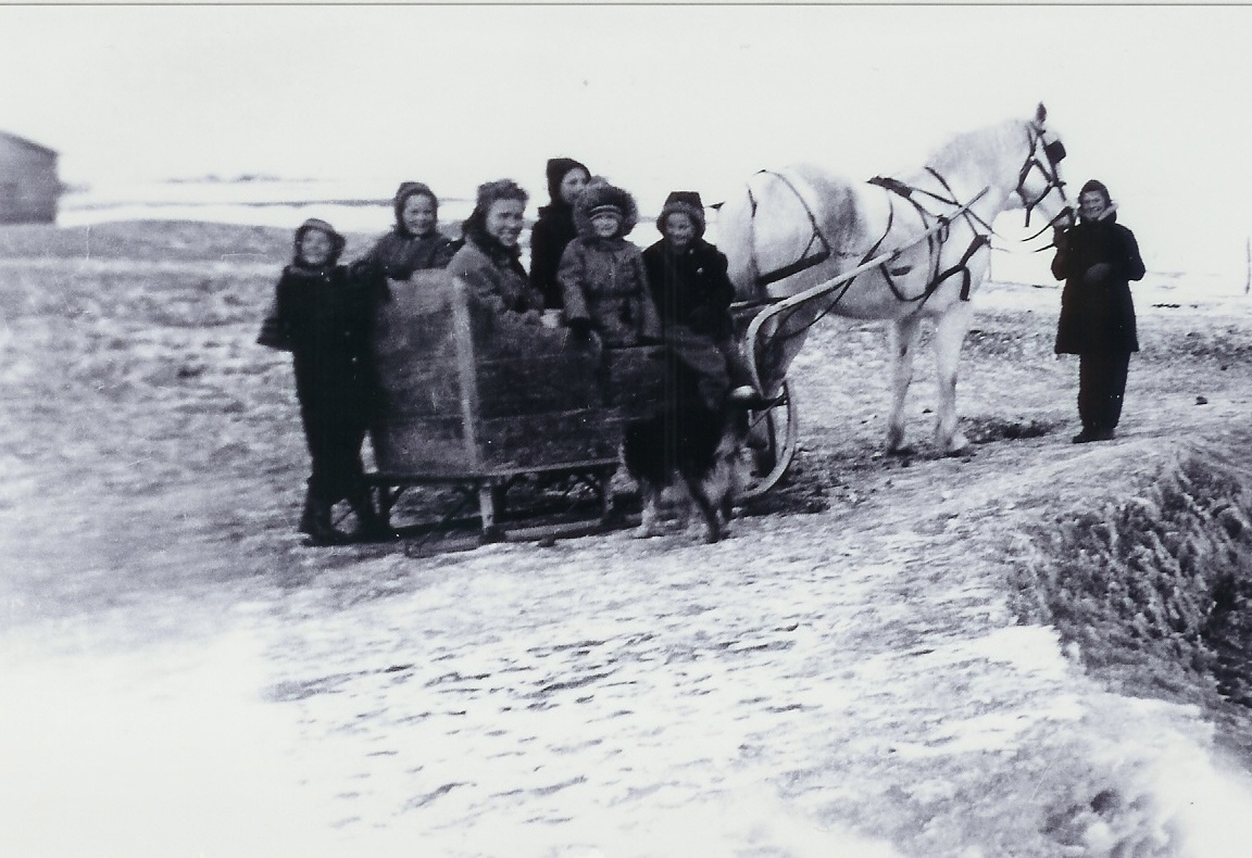 1948 winter photo with the one horse cuter courtesy of the author.