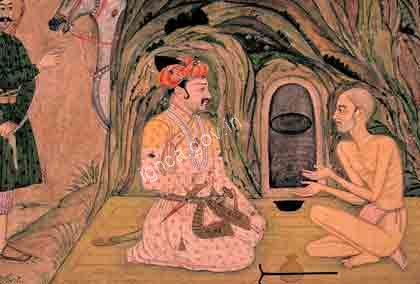 Emperor Jahangir visiting the holy man Jadrup, Late 18th Century, Provincial Mughal paintings-LOS Angles CCU Museum of Art, Calfornia