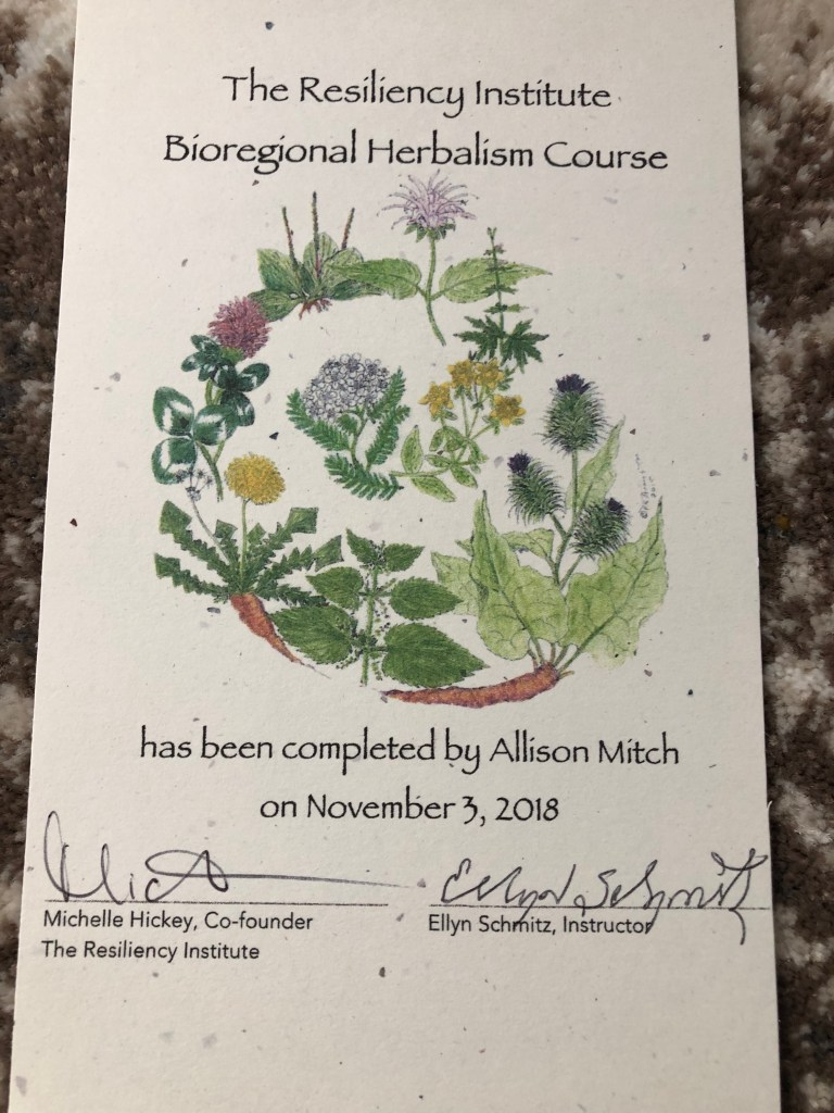 Allison's herbalism certificate from TRI