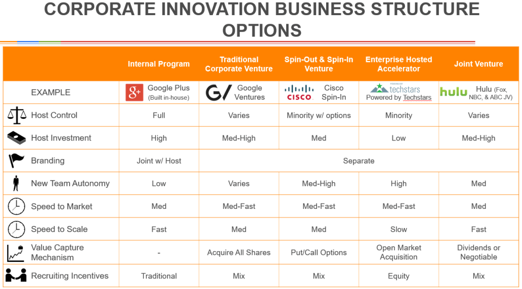Corporate Innovation Business Structure Options