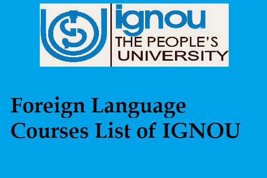 Foreign Language Courses List Of Ignou 2019