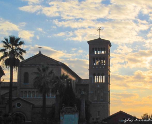 Chiesa di Sant'Anselmo all'Aventino al crepuscolo (Roma)