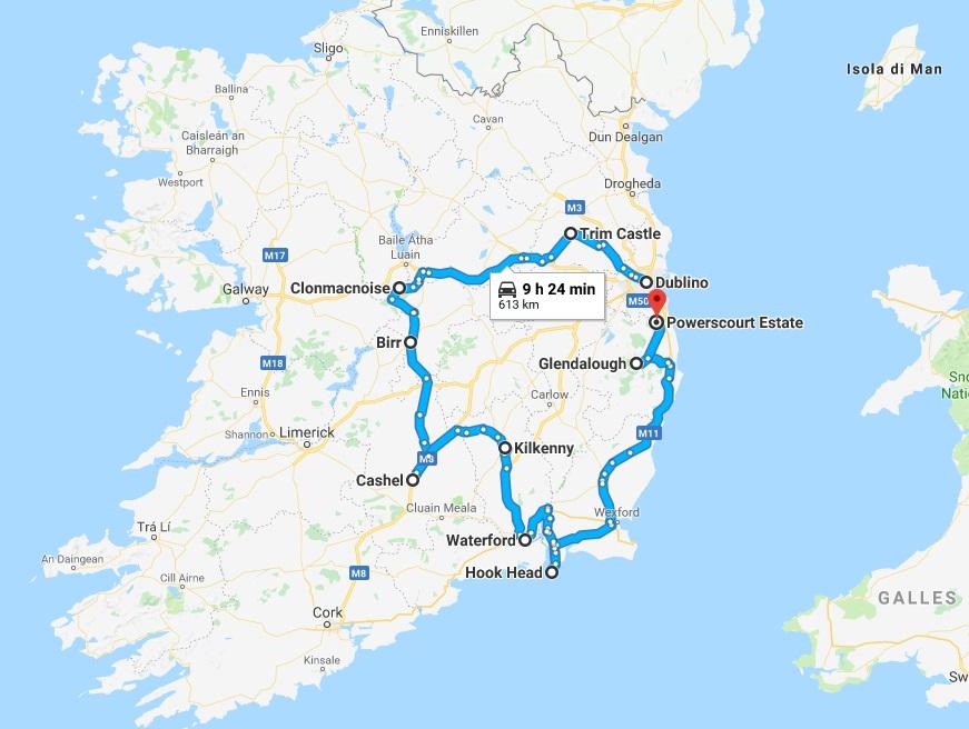 Mappa di un itinerario in Irlanda centrale e orientale