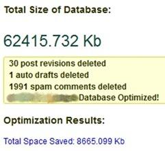 результат работы плагина WP Optimize