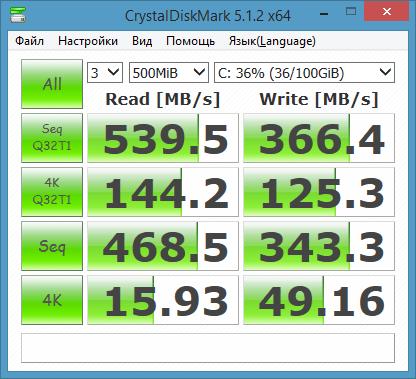 тест скорости заполненного SSD ACSC4M256S25 KingSpec