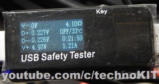 Режим тестирования USB Safety Tester j7-t